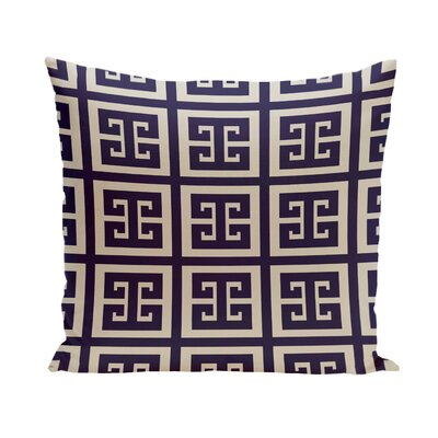 Geometric Throw Pillow Color: Latte / Spring Navy, Size: 18 H x 18 W