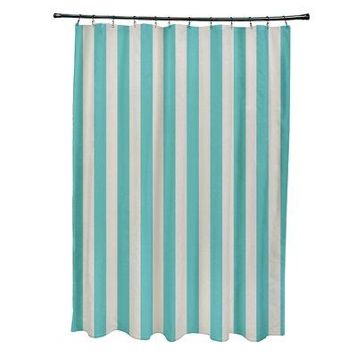 Striped Shower Curtain Color: Latte/Jade