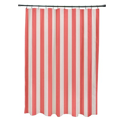 Striped Shower Curtain Color: Latte/Coral