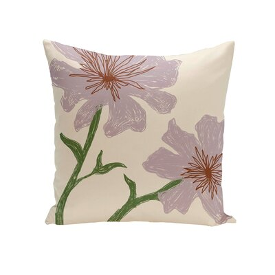 Trimble Floral Outdoor Pillow Color: Purple, Size: 18 H x 18 W x 1 D