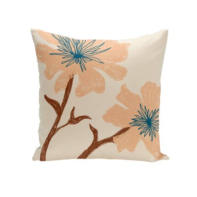Floral Throw Pillow Size: 16 H x 16 W, Color: Bisque / Peach