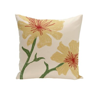 Trimble Floral Outdoor Pillow Color: Yellow, Size: 18