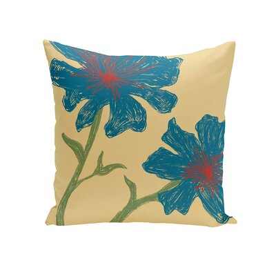 Floral Throw Pillow Size: 16 H x 16 W, Color: Emperor / Teal