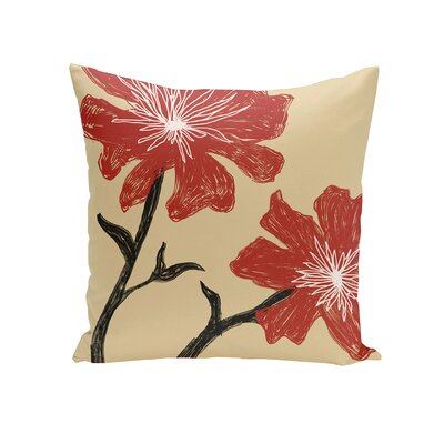 Floral Throw Pillow Size: 16 H x 16 W, Color: Ginger / Dragon
