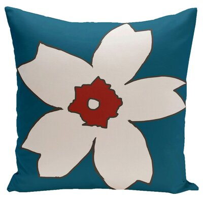 Silvas Floral Throw Pillow Size: 16 H x 16 W, Color: Teal / Dragon