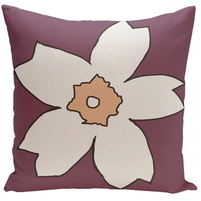 Floral Throw Pillow Size: 20 H x 20 W, Color: Plum / Peach