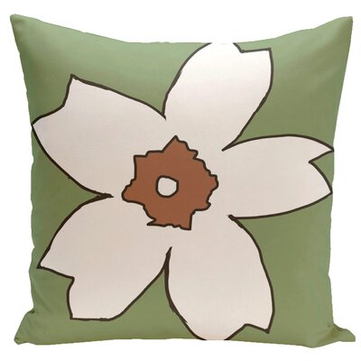 Floral Throw Pillow Size: 16 H x 16 W, Color: Edamame / Hu Poo
