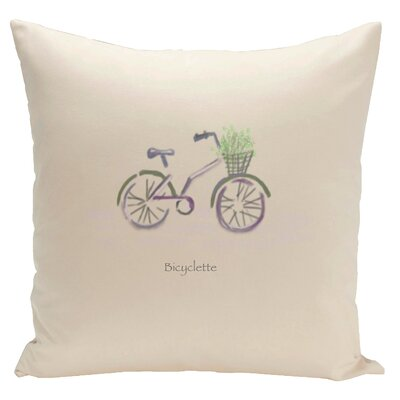 Decorative Bicyclette Throw Pillow Size: 18 H x 18 W