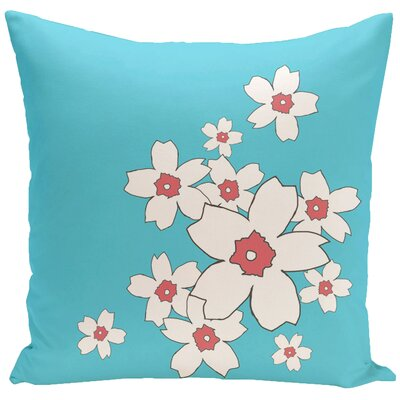 Floral Throw Pillow Size: 20 H x 20 W, Color: Turquoise