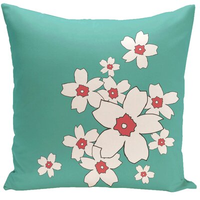 Floral Throw Pillow Size: 16 H x 16 W, Color: Jade