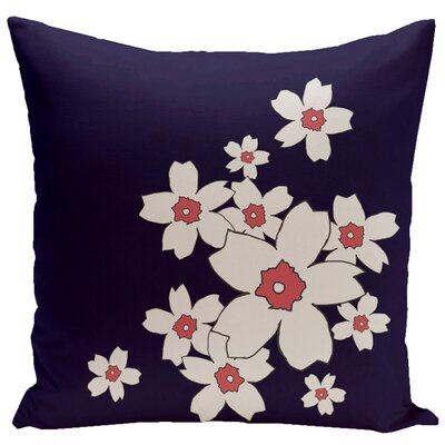 Floral Throw Pillow Size: 20 H x 20 W, Color: Spring Navy