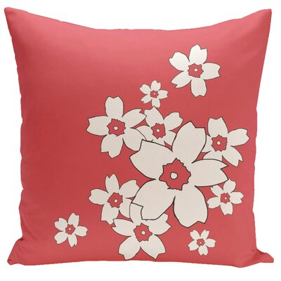 Floral Throw Pillow Size: 16 H x 16 W, Color: Coral