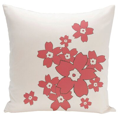 Floral Throw Pillow Size: 16 H x 16 W, Color: Oatmeal