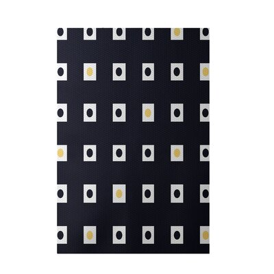 Geometric Navy Blue Indoor/Outdoor Area Rug Rug Size: 4 x 6