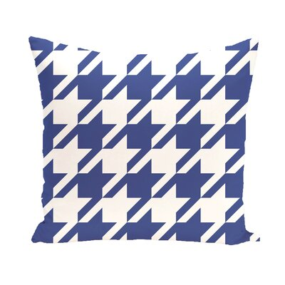 Houndstooth Geometric Print Outdoor Pillow Color: Blue Suede, Size: 14 H x 20 W x 1 D