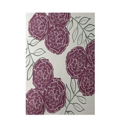 Floral Off White Indoor/Outdoor Area Rug Rug Size: 4 x 6
