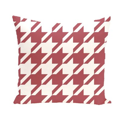 Houndstooth Geometric Print Outdoor Throw Pillow Color: Brick, Size: 20 x 20