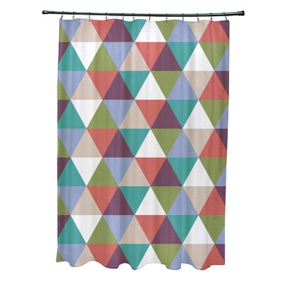 Subline Geometric Shower Curtain Color: Green/Coral