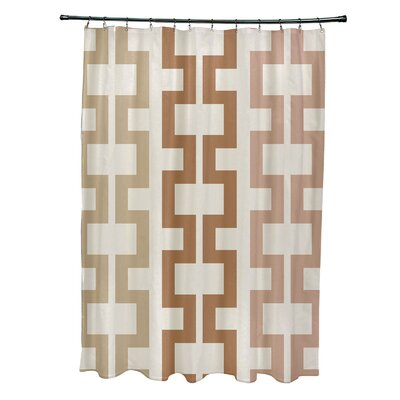 Subline Geometric Shower Curtain Color: Off White/Brown