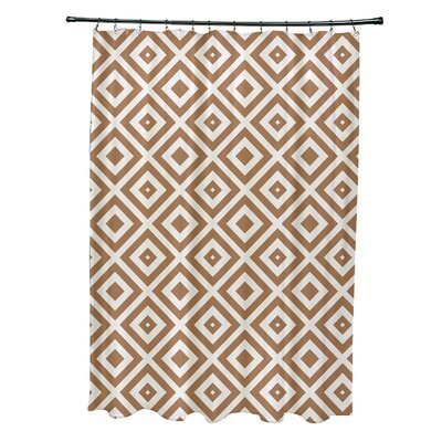 Subline Geometric Shower Curtain Color: Brown/Ivory