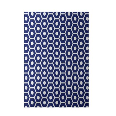 Geometric Royal Blue Indoor/Outdoor Area Rug Rug Size: 3 x 5