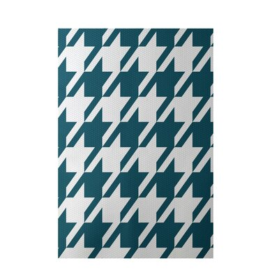 Geometric Teal Indoor/Outdoor Area Rug Rug Size: 4 x 6