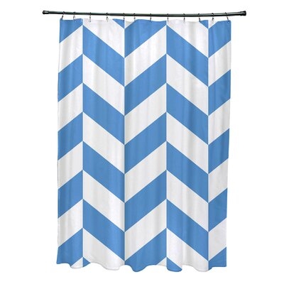 Subline Geometric Shower Curtain Color: Blue