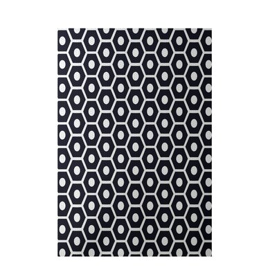 Geometric Black Indoor/Outdoor Area Rug Rug Size: 5 x 7
