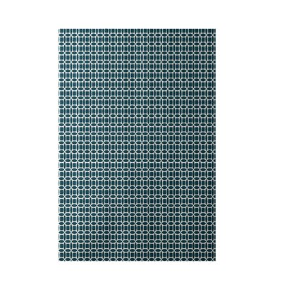 Geometric Teal Indoor/Outdoor Area Rug Rug Size: 2 x 3