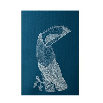 Bird Print Teal Indoor/Outdoor Area Rug Rug Size: 5 x 7