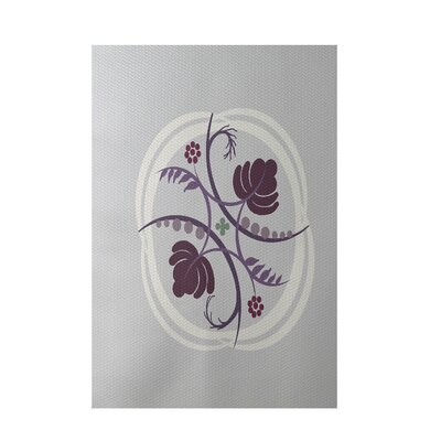 Floral Light Gray Indoor/Outdoor Area Rug Rug Size: 5 x 7