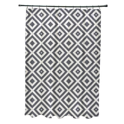 Subline Geometric Shower Curtain Color: Dark Gray/Ivory
