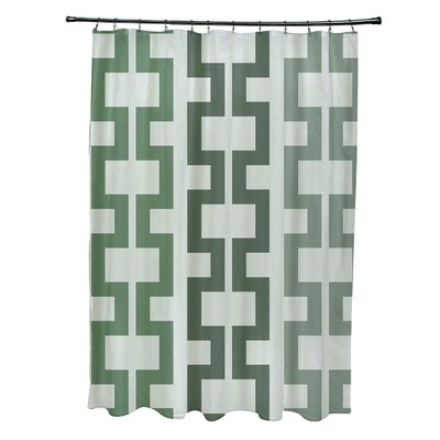 Subline Geometric Shower Curtain Color: Green
