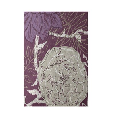 Floral Purple Indoor/Outdoor Area Rug Rug Size: 2' x 3'