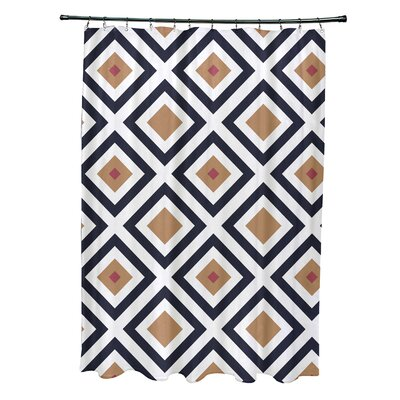 Subline Geometric Shower Curtain Color: Navy Blue/Brown