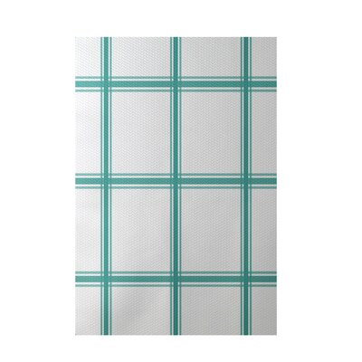 Geometric Aqua Indoor/Outdoor Area Rug Rug Size: 5 x 7
