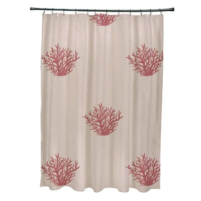 Coastal Calm Shower Curtain Color: Beige/ Coral