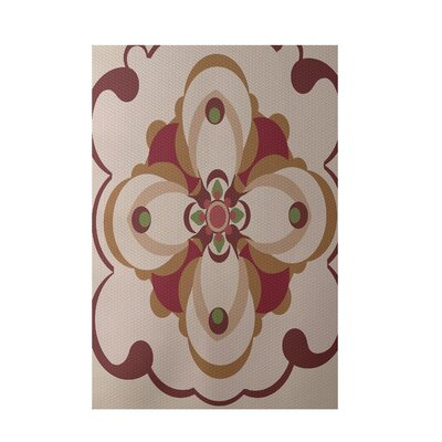 Floral Taupe Indoor/Outdoor Area Rug Rug Size: 5 x 7