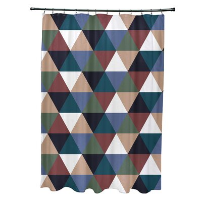 Subline Geometric Shower Curtain Color: Rust/Blue