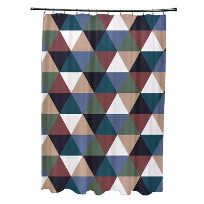 Subline Geometric Shower Curtain Color: Rust/Blue