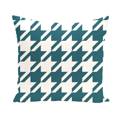 Houndstooth Geometric Print Outdoor Pillow Color: Deep Sea, Size: 20 H x 20 W x 1 D