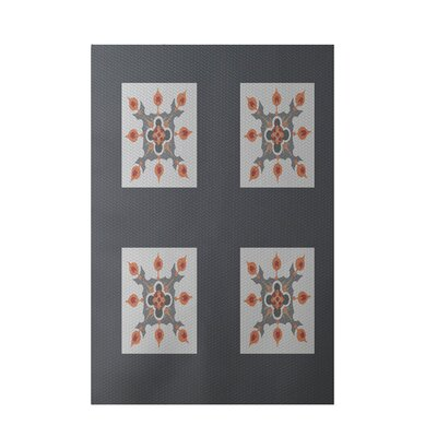 Geometric Dark Gray Indoor/Outdoor Area Rug Rug Size: 4 x 6