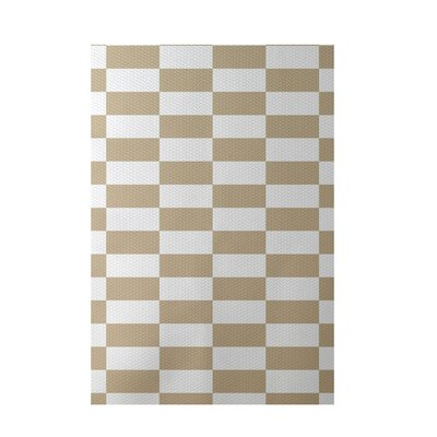 Plaid Beige Indoor/Outdoor Area Rug Rug Size: 5 x 7