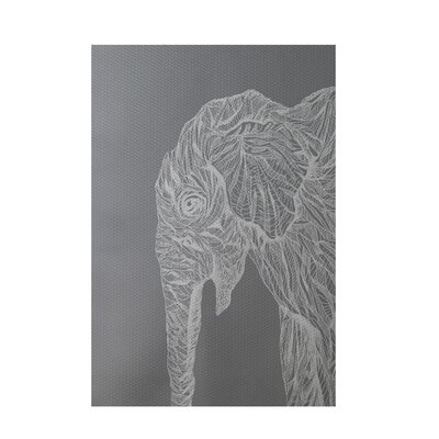 Safari Elephant Print Gray Indoor/Outdoor Area Rug Rug Size: 3 x 5