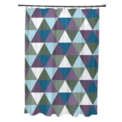 Subline Geometric Shower Curtain Color: Green/Blue