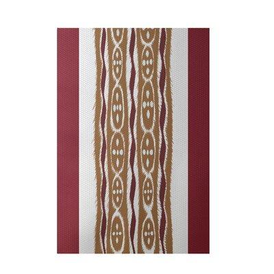 Stripe Rust Indoor/Outdoor Area Rug Rug Size: 5 x 7