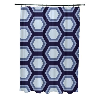 Subline Geometric Shower Curtain Color: Navy Blue/Light Blue