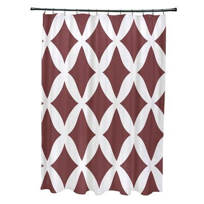 Subline Geometric Shower Curtain Color: Rust
