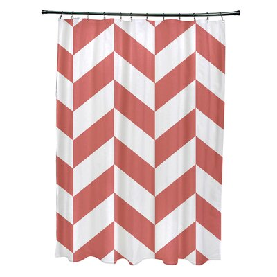 Subline Geometric Shower Curtain Color: Coral