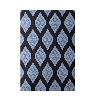 Floral Navy Blue Indoor/Outdoor Area Rug Rug Size: 4 x 6